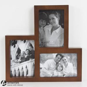 Rodzinna ramka na trzy zdjęcia 77752 brązowa 3D