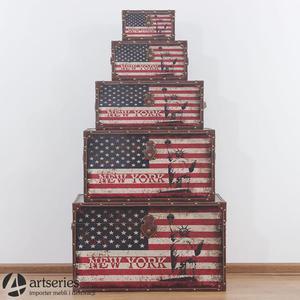Komplet skrzyń retro z flagami Stanów Zjednoczonych 89898 - 2829134154