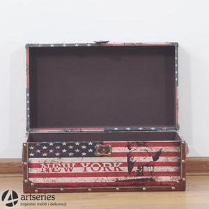 Kufer USA retro 89898c - flaga narodowa wraz ze statuą wolności - 2829134157