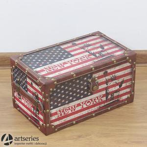 Skrzyneczka 89898b z nadrukiem flagi USA w stylu retro - 2829134158