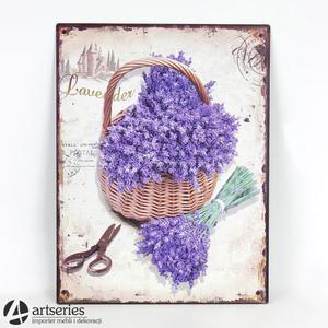 Obrazek dekoracyjny na ścianę - kosz lawendy 91394 - 2829134348