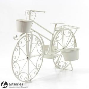 Biały, metalowy rower - stojak na kwiaty - 77513 - kwietnik