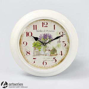 Biały zegar wiszący, tarcza z malowidłem ziół prowansalskich 93343 - 2829134435