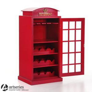 Czerwona szafka na alkohol 81152 - budka telefoniczna retro z miejscem na butelki - 2829134559