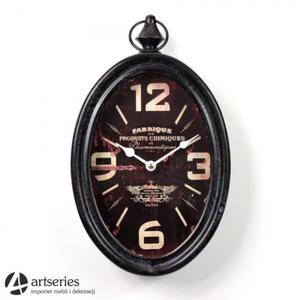 Czarny zegar przecierany, owalny, dekoracyjny   Fabrique   97164 - 2829134609