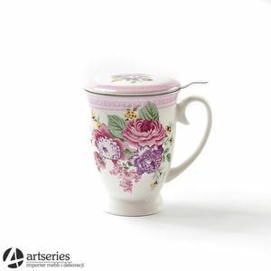 Biało-różowy kubek z zaparzaczem, ozdobny zaparzacz 98307 - 2829134685