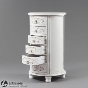 Okrągła szafka stylowa - komoda drewniana w bieli 102185 - 2835659192