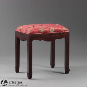 Wygodny, zgrabny taboret tapicerowany z litego drewna 163003 | Premium Mark - 2836104757