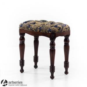 Tapicerowany taboret z pełnego drewna, 163016 krzesełko z elegancką tapicerką Premium Mark - 2836104758