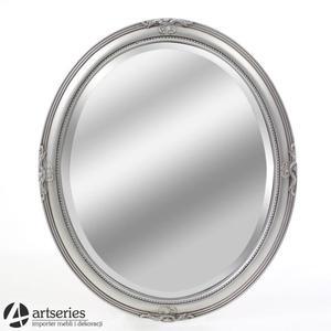 Owalne lustro w zdobionej, srebrnej ramie rzeźbionej 102427 - 2848939239