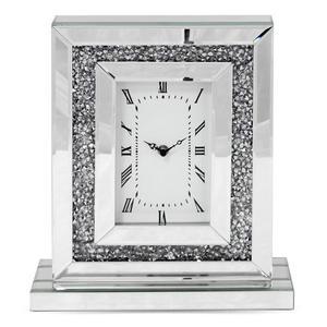 Srebrno - lustrzany zegar glamour, sto - 2861277613