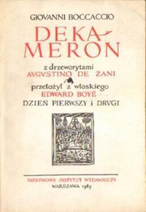 Giovanni Boccaccio DEKAMERON. DZIEŃ PIERWSZY I DRUGI [antykwariat] - 2834461943
