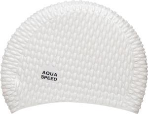 Czepek silikonowy na długie włosy Bubble Aqua-Speed (biały) - 2822243500