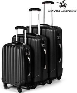 Elegancki zestaw walizek podróżnych David Jones (czarny) / GWARANCJA 24 MSC. / Tanie RATY / DOSTAWA GRATIS !!! - 2853193209