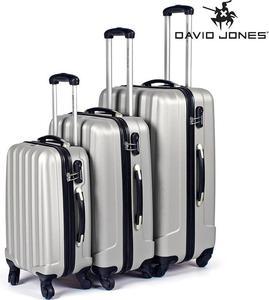 Elegancki zestaw walizek podróżnych David Jones (srebrny) / GWARANCJA 24 MSC. / Tanie RATY / DOSTAWA GRATIS !!! - 2852787389