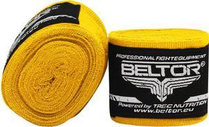 Owijki, bandaże bokserskie elastyczne 4m 2 szt. Beltor (żółte) - 2822250543