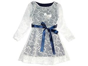 Elegancka sukienka z gipiury/koronki z szarfą - 2847553045