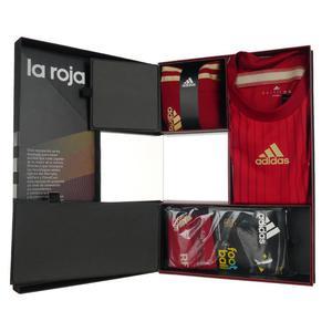 Komplet piłkarski Adidas Hiszpania męski strój koszulka + spodenki + getry - 2832466006