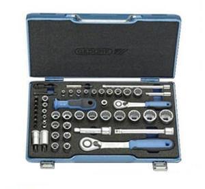 """GEDORE Zestaw kluczy nasadowych 3/8"""" + 1/4"""" z dwoma grzechotkami dwukierunkowymi, 50-częściowy D 30 TX20 U-20 (2075695) - 2827631466"""