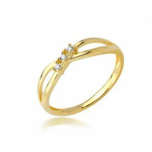 Śliczny złoty pierścionek z trzema cyrkoniami - 2852739470