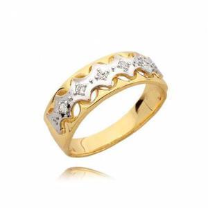 Złoty pierścionek z białym złotem i cyrkoniami