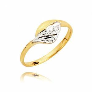 Złoty pierścionek z cyrkoniami w białym złocie