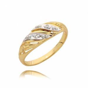 Pierścionek zaręczynowy z cyrkoniami na białym złocie