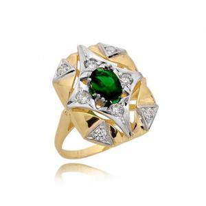 Pierścionek złoty z cyrkonią zieloną