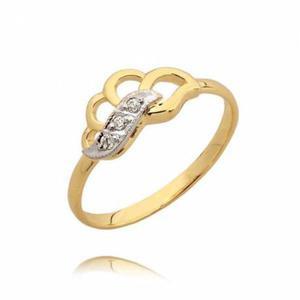 Złoty pierścionek z białym złotem model N40
