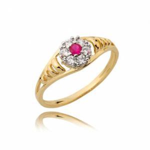 Zaręczynowy pierścionek z czerwonym rubinem