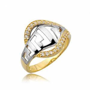 Pierścionek złoty,dwa kolory z cyrkoniami