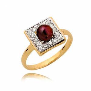 Piękny pierścionek z cyrkoniami i ciemną perłą