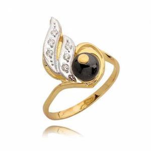 Efektowny pierścionek z cyrkoniami i czarną perłą