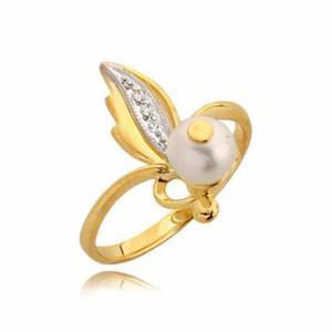 Efektowny złoty pierścionek z cyrkoniami i perłą