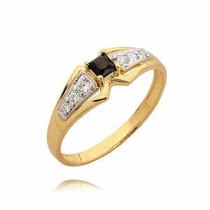Złotry pierścionek z cyrkonią barwioną (czarną)