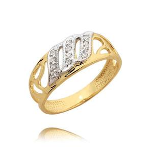Piękny złoty pierścionek z cyrkoniami