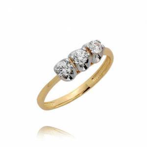 Pierścionek złoty z trzema cyrkoniami - 2722637419