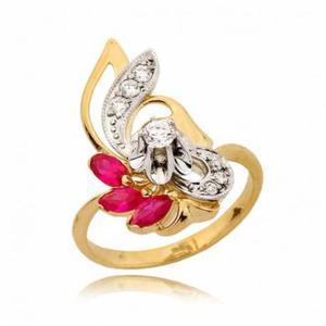 Złoty pierścionek z trzema różowymi cyrkoniami - 2722638663