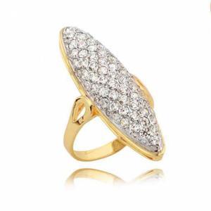 Elegancki złoty pierścionek bogato zdobiony