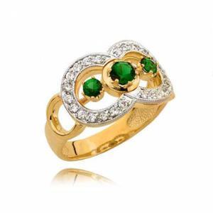 Złoty pierścionek z trzema zielonymi cyrkoniami - 2722638664