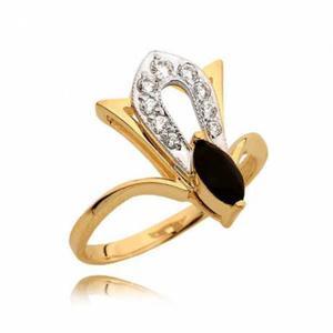 Elegancki pierścionek z czarną cyrkonią