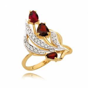 Piękny złoty pierścionek z trzema rubinami i cyrkoniami - 2722636540