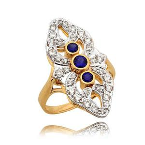 Piękny elegancki pierścionek z szafirami