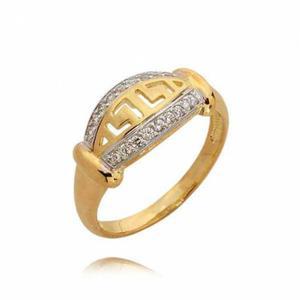 Elegancki złoty pierścionek z wzorem greckim