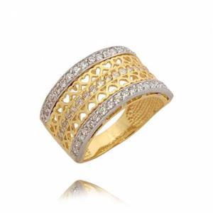 Złoty pierścionek z wzorem malutkich serduszek i cyrkoniami