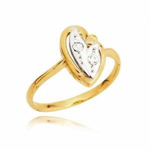 Złoty pierścionek w kształcie serca wypełnione białym złotem i cyrkoniami