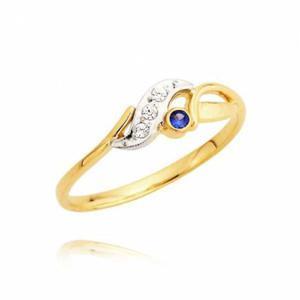 Złoty pierścionek z cyrkoniami i szafirem