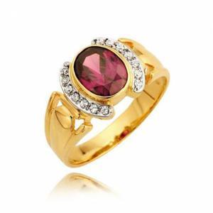 Piekny zareczynowy pierścionek z ametystem i cyrkoniami