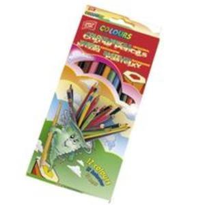Kredki drewniane sześciokątne 12 kolorów