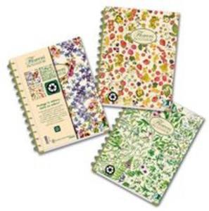 Kołobrulion A4 Pigna Nature Flowers w kratkę 135 kartek 3 przedmioty mix wzorów - 2857700965